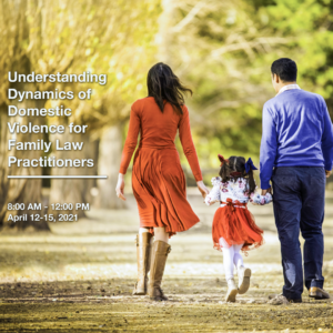 A family holds hands while walking. Family Law training advertised for April 12-15, 2021.