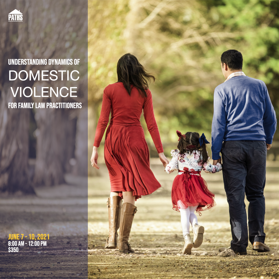 Family walking hand-in-hand under a tree canopy. Understanding Dynamics of Domestic Violence for Family Law Practitioners, June 7-10, 2021. 8:00 AM - 12:00 PM. $350.